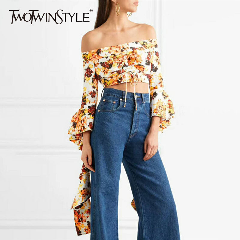 TWOTWINSTYLE Sexy Slash Neck Printed   Blouse     Shirt   Women Ruffle Flare Sleeve Lace up Crop Tops Female Fashion Clothes 2018 Summer