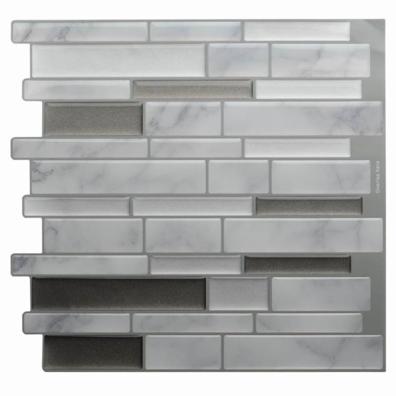 White Grey Marble Mosaic Peel and Stick Wall Tile Self adhesive Backsplash DIY Kitchen Bathroom Home Wall Decal Sticker Vinyl 3D 1