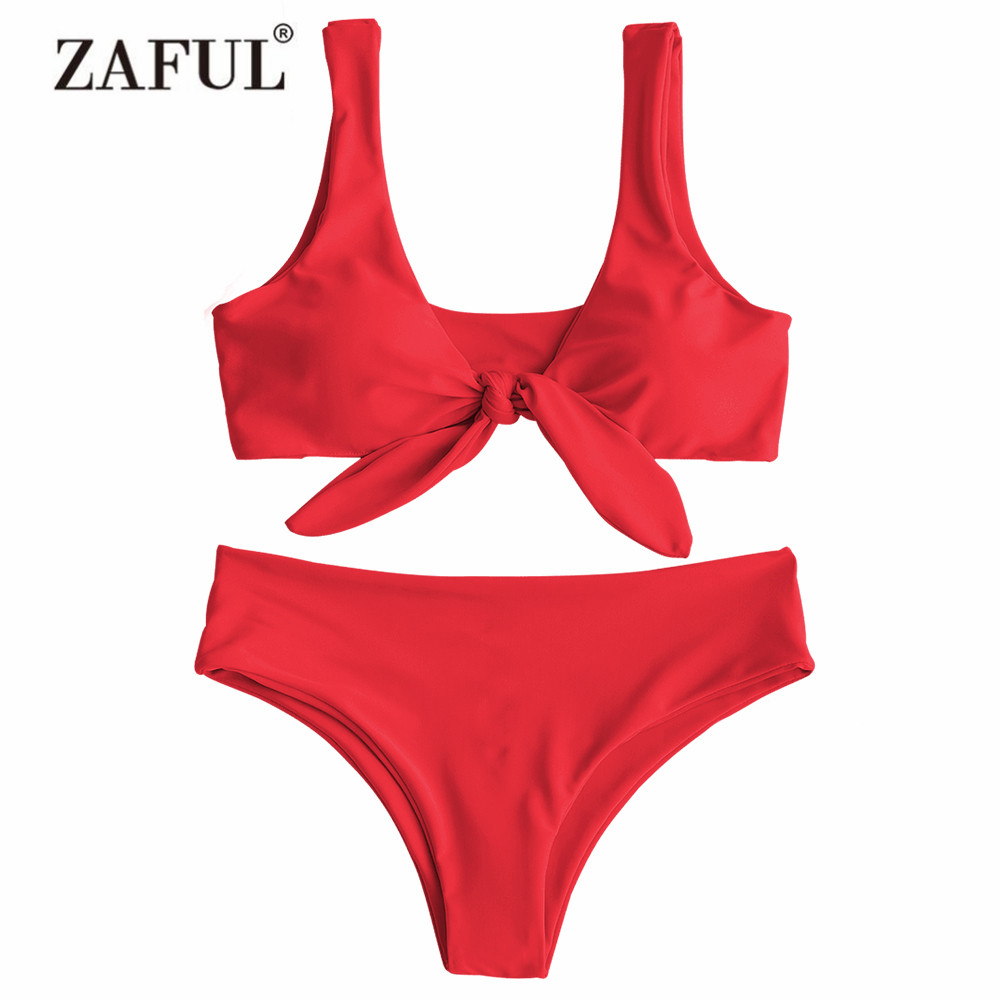ZAFUL Bikini Padded Front Knot Bikini Set Women's Swimsuit Solid Swimwear Sexy Summer Beachwear U-Neck Swimming Suit Biquni