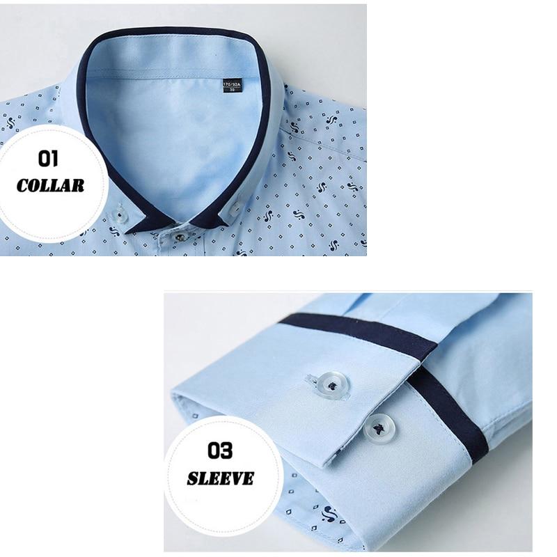 2018 Shirt Herrenmode Gedruckt Polka Dot Herrenhemden Baumwolle - Herrenbekleidung - Foto 5