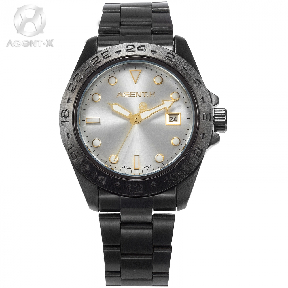 Brand AGENTX Casual Outdoor Sport Date Display  Black Case Steel Band Movement Quartz Men Wristwatch luxury Watch Box / AGX095 la vitesse fatale agentx original casual business analog steel band silver case japan movement quartz mens wrist watch agx094