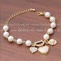 Strand Bracelets decorative pattern peach heart bracelet Imitation pearl love rhinestone letter bracelet fashion Design1220