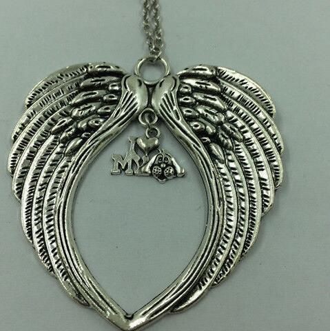 Large angel wings necklace pendants vintage silver heart buckle large angel wings necklace pendants vintage silver heart buckle cross i love dog heart charms choker necklace women jewelry gift in pendant necklaces from mozeypictures Gallery