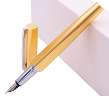 KACO SQUARE Luxury Aluminum Four Sides Gold Fountain Pen with Iron Box, Schmidt Converter & Fine Nib 0.5mm Gift Set for Office