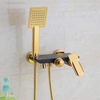 Antique Brass Handheld Bath Shower Head Water Saving Gold Plate Black Hand Shower Set Bathroom Showers faucet Bathtub Mixer Tap