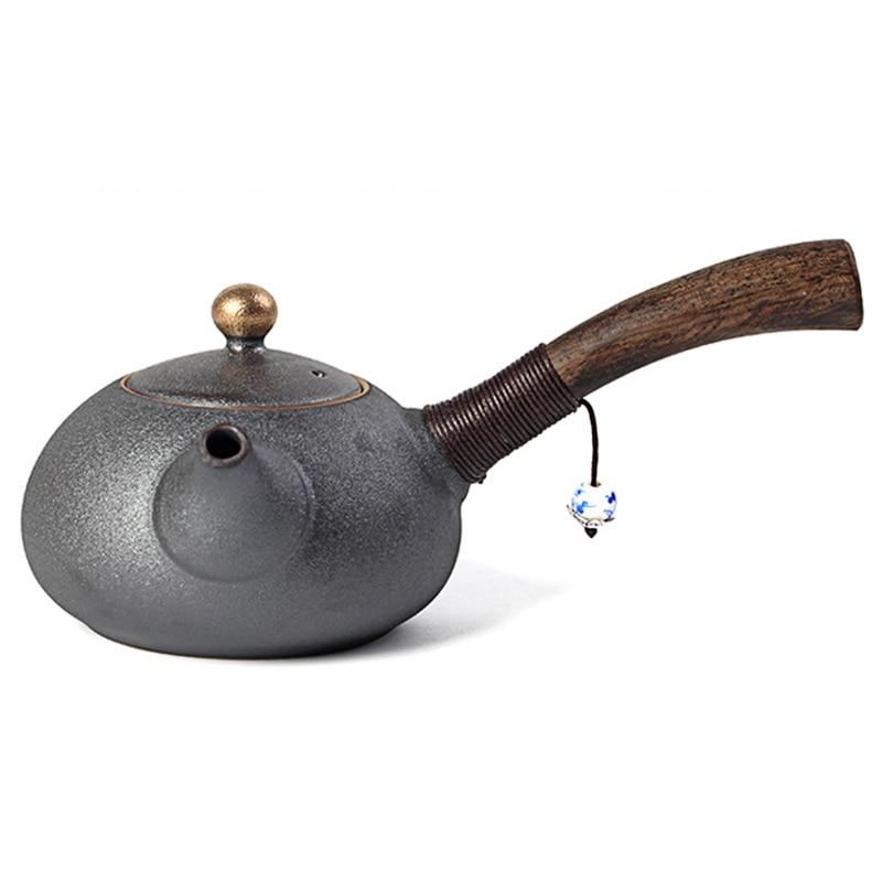 PINNY New Design Japanese Style Teapots Ceramic Wood Handle Kung Fu Tea Sets Porcelain Ceramic Kettle Vintage Tea Service