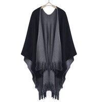 Caliente del invierno de gran tamaño de Cachemira poncho CAPES mantón con borlas de dos lados Chaquetas suéter Abrigos Doble uso