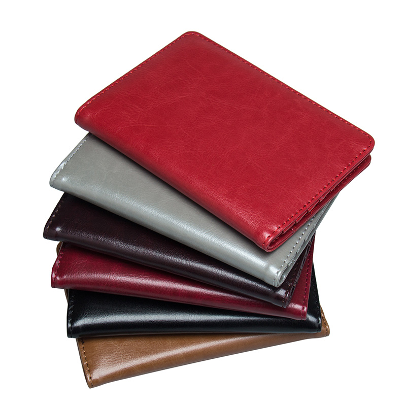 custom Available Solid Oil Dark Red Pu Leather Passport Holder Built In Rfid Blocking Protect Personal Information Coin Purses & Holders