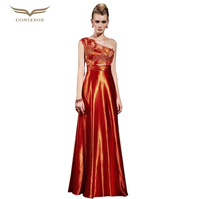 cfd7a4385fb4 CONIEFOX Beading Celebrity Inspired Dress A Line One Shoulder Floor Length  Luxury Evening Gowns Vestidos De novia 31015 New