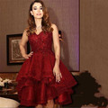 New Dark Red Beaded Lace High Low Prom Cocktail Party Dresses 2016 Short Sweetheart Short Front Long Back robe de cocktail