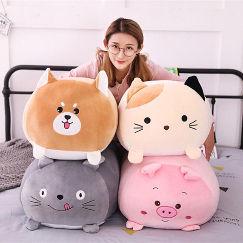 Almohada de dibujos animados Animal suave cojín lindo perro gordo gato Totoro pingüino cerdo de peluche de juguete de peluche encantador niños regalo de cumpleaños