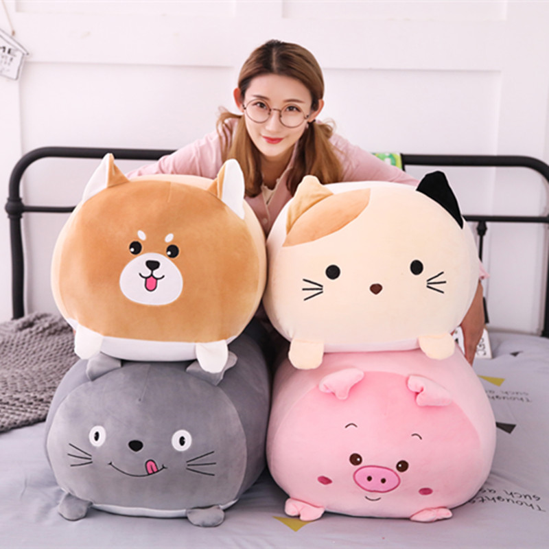 Macio Animal Cão Totoro Gato Dos Desenhos Animados Travesseiro Almofada Bonito Fat Pinguim Porco Brinquedo de Pelúcia Lindo Presente de Aniversário para crianças