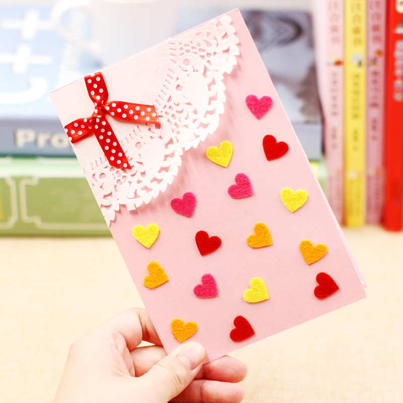 Children DIY Handmande 3D Greeting Card Non-woven Creative 3D Stickers Kindergarten Handmade Materials Package DIY Craft Toys