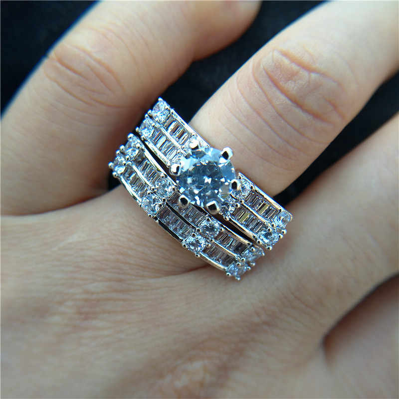 Luxury Female Big Stone Ring Set Boho Fashion Queen 925 Silver Bridal Engagement Rings For Women Promise Love Finger Ring