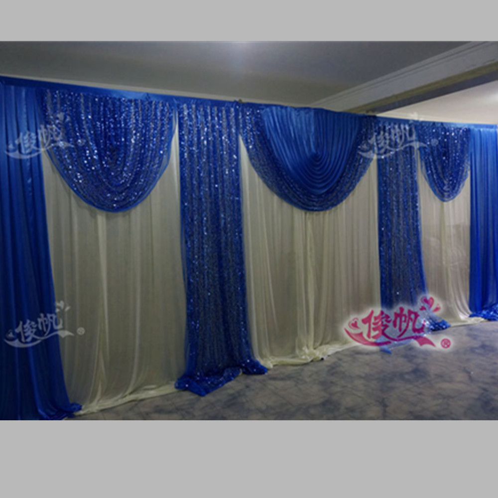Blue curtain backdrop - Luxury Royal Blue Wedding Backdrop Curtain Sequins Swag 3m 6m 10ft 20ft