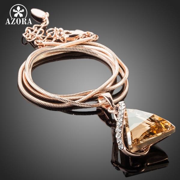 AZORA Rose Gold Color Cubic Zirconia Stone Triangle Hängsmycke - Märkessmycken - Foto 2