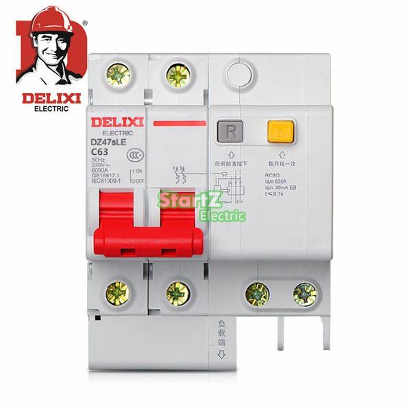 63A 2P RCBO RCD Circuit Breaker DE47LE DELIXI 50a 3p n rcbo rcd circuit breaker de47le delixi