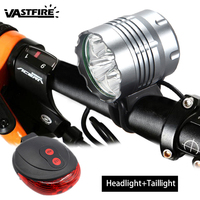 Headlight & Bicycle Light 2 in 1 3000LM 5x T6 LED Bicycle Bike Light Led Head Torch +6400mAh Battery+Red Laser Light+Charger