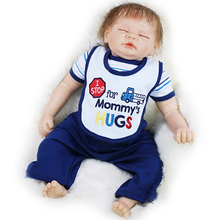 Reborn Baby Dolls 22 Inch Sleeping Realistic Babies Boy Silicone Cloth Body Newborn Doll Toy With Rooted Mohair Kids Playmate