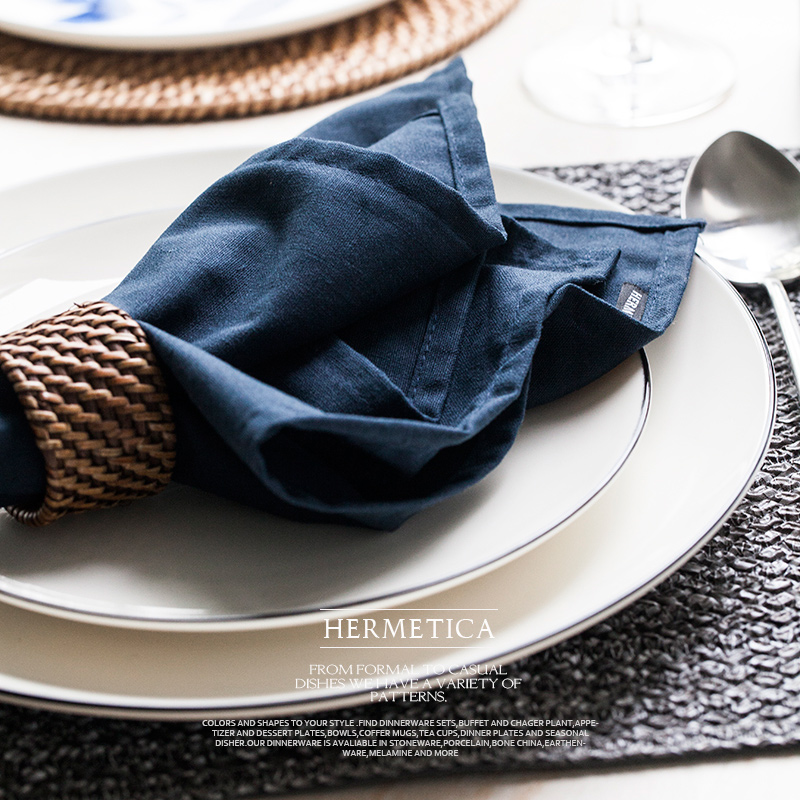 Brand Brief Solid cotton linen mat pad placemat hotel restaurant table accessories napkin doilies place mat for dining table mat