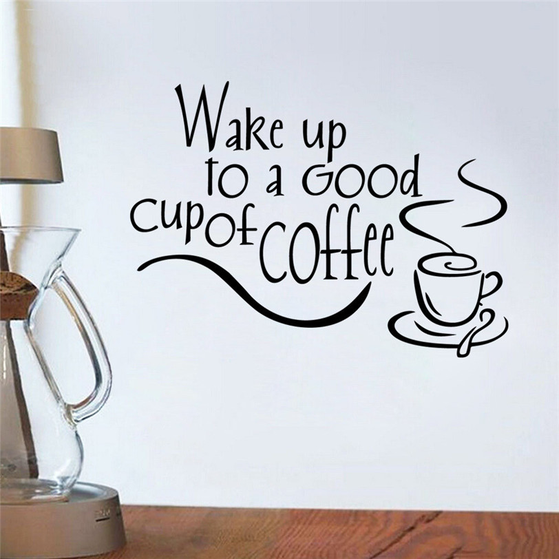 Wall sticker quotes coffee mugs tea coffee art decal vinyl for Tea and coffee wall art