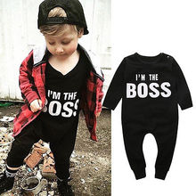 2016 Autumn Winter Romper Baby Boy Warm Long Sleeve Letter Romper Jumpsuit Outfits Clothes 6 12 18 24M