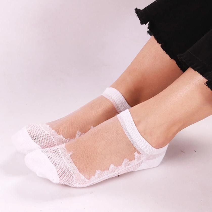 fashion cute woman   socks   lovely Tiny funny cool Summer Women Ladies Sheer Silky Glitter Transparent Ankle C2JULYT9