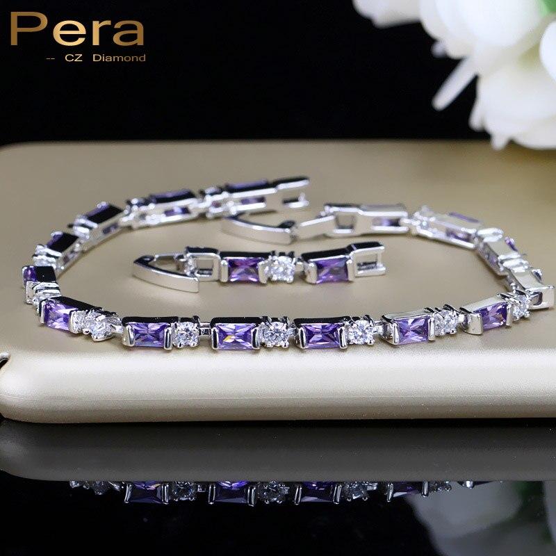 Pera רומנטי כלה חתונה קסם צמיד סגול ולבן גדול כיכר צורת מעוקב Zirconia לנשים המפלגה תכשיטי מתנה B060