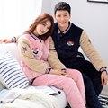 Las Mujeres ocasionales de Invierno Pijamas Par de Color Rosa ropa de Dormir de Franela de Algodón Acolchado Caliente Gruesa Hombres Home Sleep Wear Ropa