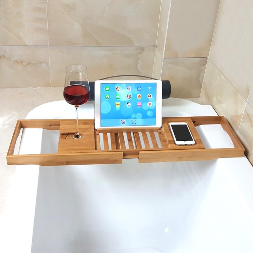 joyoldelf extendable bamboo bathtub tray adjustable shower caddy bathtub rack with wineglass slot ipad tablet iphone holder