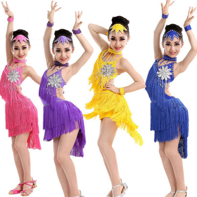 7c5aab819bf9 Kids Tassels Ballroom Competition dancing dress Latin Dance Suits Girls  Sequined Dance wear Costumes Kids Waltz dance Outfits