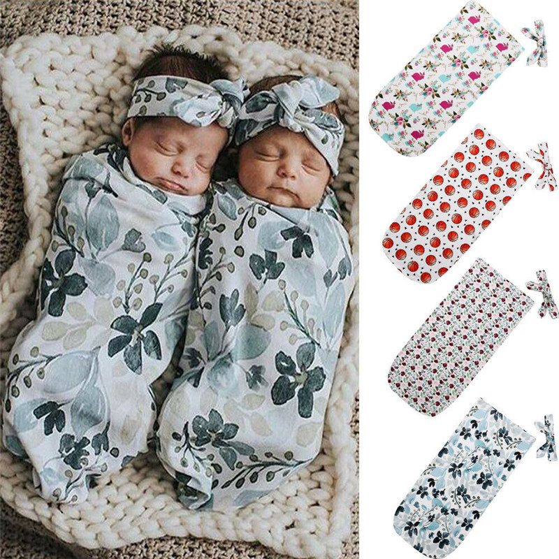 PUDCOCO Newest Cute Newborn Infant Baby Boy Girl Soft Cotton Swaddle Blanket Sleeping Swaddle Wrap Headband Outfits Set 2PCS