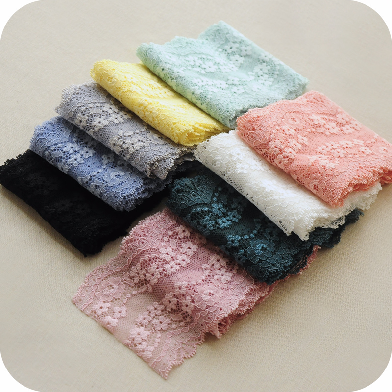 9cm Soft Elastic Lace Ribbon Tape DIY Apparel Sewing & Fabric Handmade Material White Lace Trimming Garment Accessories