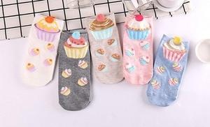 Image 2 - 500 pairs/lot summer women 3D cupcake cotton sock/cake print sock 5 color for choose