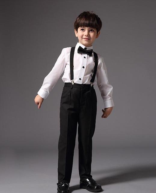 30b482096b09b68 2015 лето мода идеальное сочетание черный галстук и белая рубашка, черные  брюки мальчик подтяжки подходит