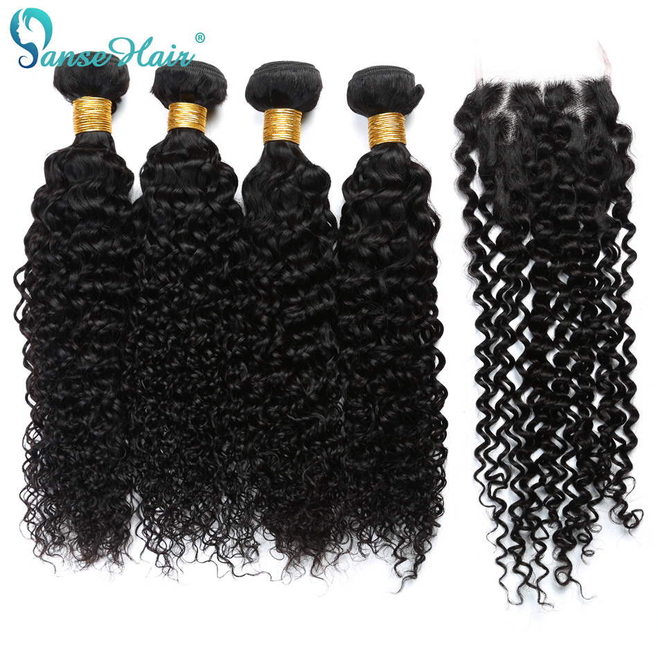 Panse Hair Malaysian Kinky Curly Human Hair Weaving Customized 8 To 28 Inches Hair 4 Bundles Hair Weft With Closure 4X4 Non Remy