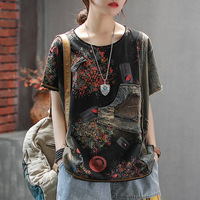 Oversized Harajuku Shirts Jean Vintage Casual T Shirts Women Shirts 2019 Vintage Patchwork Women Top Tees Casual Soft LT667S50