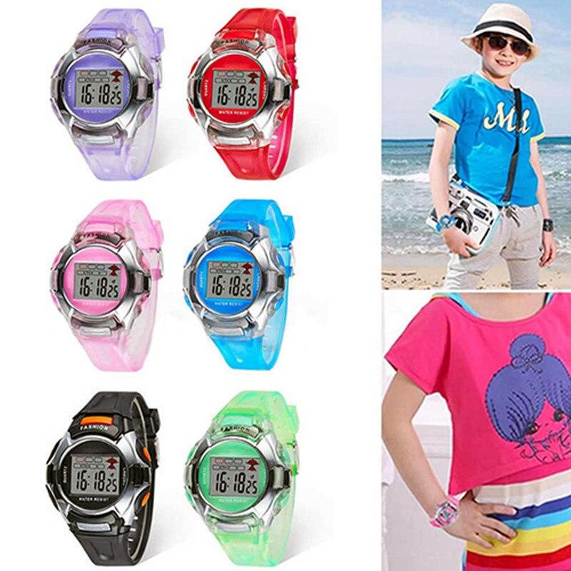 6 colores de la marca de moda niños multifunción impermeable Jelly Kids reloj de pulsera digital para niños niñas estudiantes regalo