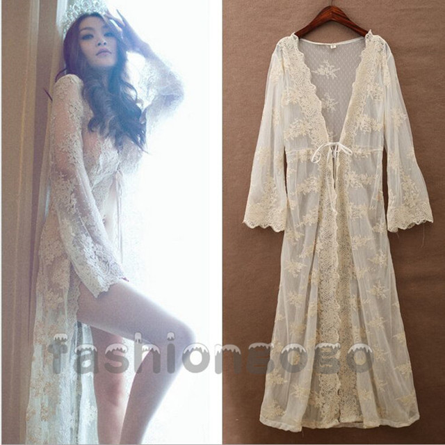 Women Bridal Vintage Princess Long Sexy Lace Robe Dress Bathrobes Sleepwear  Nightdress Lingerie Romantic Nightgowns Cardigan 315654a5f
