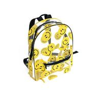 1 piece lovely yellow smile face transparent TPU gel backpack schoolbag