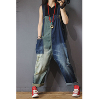 Womens Denim Wide Leg Cargo Jumpsuits Rompers Overalls Body for Ladies Patchwork Loose Plus Size Oversized Casual Fashion 80497