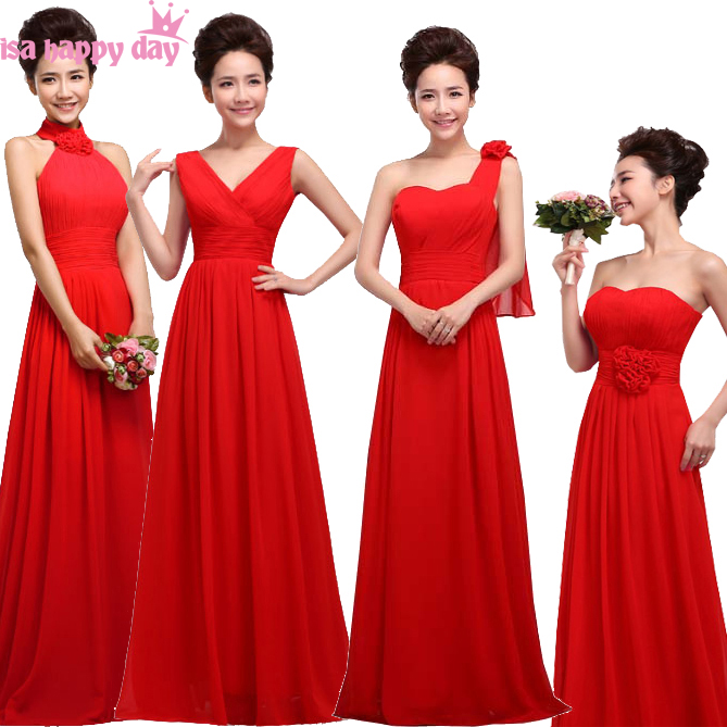 4 style princess girls long lace up adult girls chiffon   bridesmaid   party   dresses   sweetheart images red   bridesmaids     dress   gown