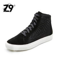 2016 Top Fashion Men Boots Grain Leather Designer Brand High Casual Shoes Sneaker Super Quality Z9