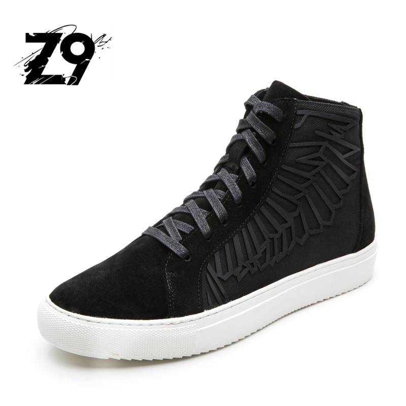 2016 Top fashion Men boots Grain Leather Designer brand High casual shoes sneaker super quality Z9 Design