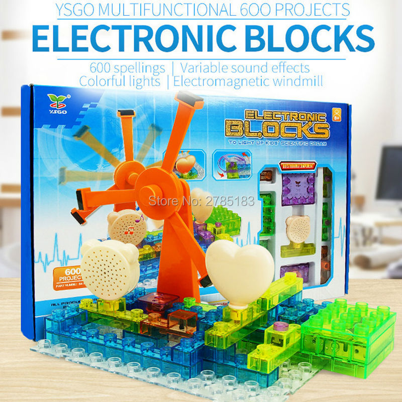 64PCS Electronic Component Educational Learning Blocks,600 Projects Integrated Building Block Circuit Kit With Lighted Bricks