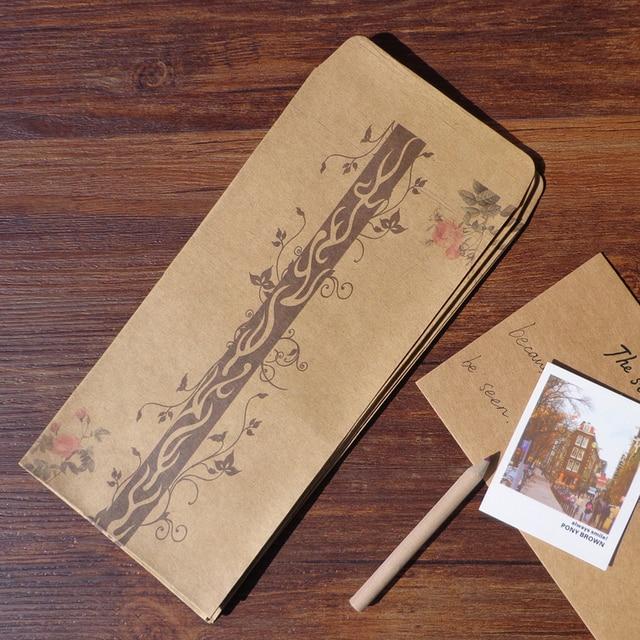 12pcs Retro Style Beautiful Romantic Floral Design Kraft Envelope