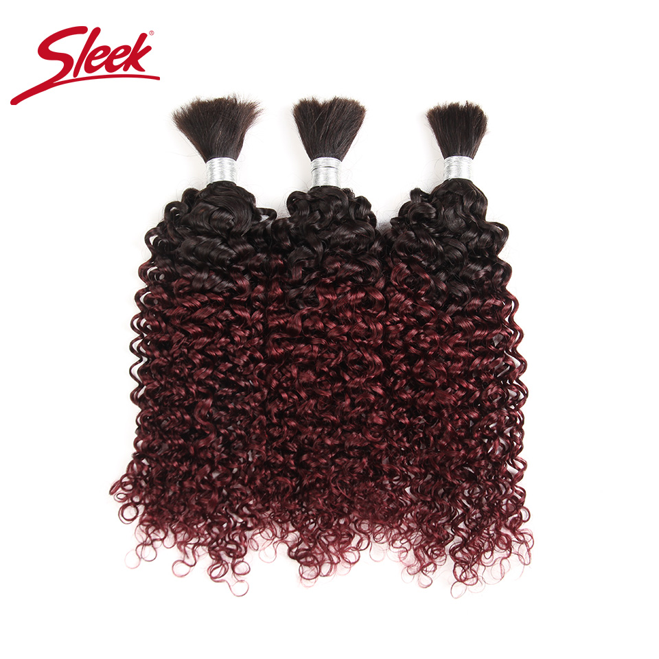 Sleek Brazilian Remy Kinky Curly Bulk Human Hair For Braiding 1 Bundle T1B/99J Ombre Hair Extensions