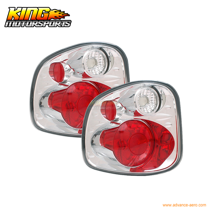 For 1997-2000 Ford F150 Flare Side Tail Lights Version 2 Chrome USA Domestic Free Shipping