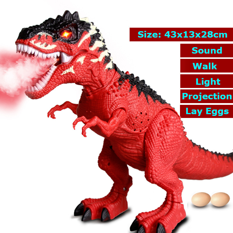 Electric Spray Lay Egg Tyrannosaurus Moving Walking Eggs Laying Dinosaur Toy Sound Light Simulation Animal Model Children Toys