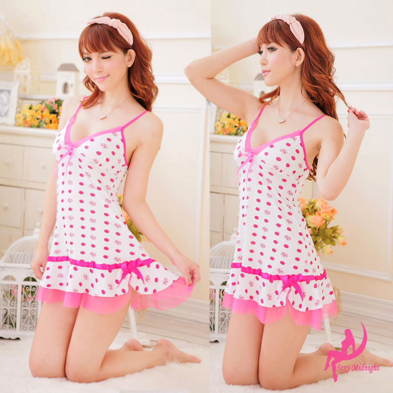 Sexy Lingerie V Neck Pajamas For Women Nightgown Sleepwear -3159